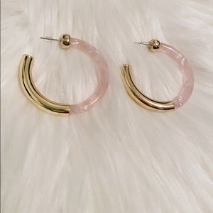 NEW Light Pink Swirl Marble Gold Big Hoops